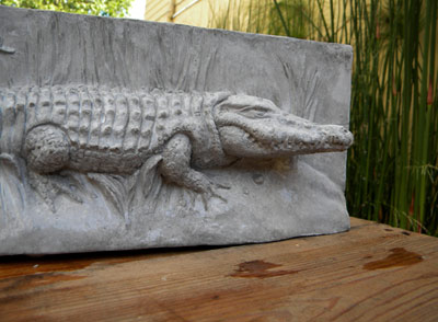 Green Croc Concrete Sculpture