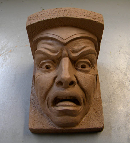 Grotesque Corbel, clay sculpture - front view