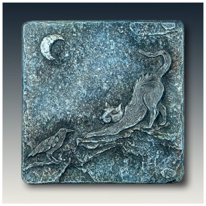 Moonlight Rendezvous, sculptural wall art